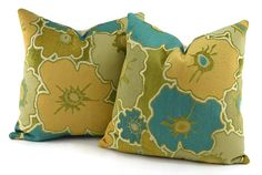 2 Woven & Chenille 16x16 Throw Pillow Covers Turquoise Aqua