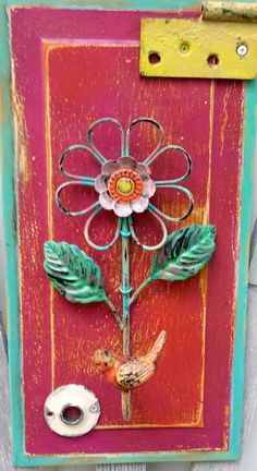 Upcycled Wood Purple Paint Salvaged Door by PearlsVintageGoods