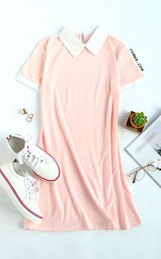 Street Style - Pink Contrast Collar Shirt Dress with white sneakers from romwe.com