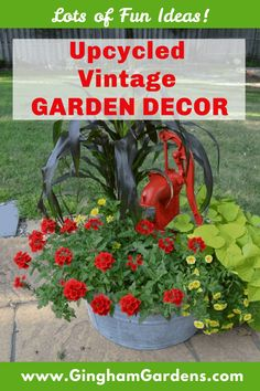 Stop by Gingham Gardens and get some great ideas to add whimsy and character to your gardens using Upcycled Vintage Garden Decor. Rustic Garden Decor, Vintage Garden Decor, Garden Whimsy, Garden Junk, Rustic Gardens, Outdoor Gardens, Garden Sheds, Upcycled Vintage, Vintage Items