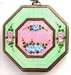 Art Deco Sterling Enamel Compact EX Condn EAM Pink Green Guilloche Roses Chain | eBay