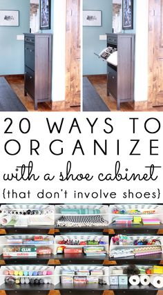 20 ways to organize with an Ikea shoe cabinet that don't involve shoes. Use this versatile piece of furniture to storage and organize just about anything in your home! The most functional IKEA hack around!