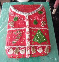 """Ugly Christmas """"Sweater"""" Cake...love it!  Maybe this should be an annual tradition to make this cake!"""