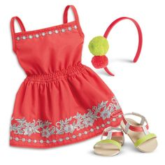 Dolls will be ready for sun and fun in this outfit, featuring a cotton dress with embroidery, a coral headband with pom-pom accents, & strappy sandals to match. American Girl Doll Pictures, All American Girl, American Girl Clothes, Girl Doll Clothes, Doll Clothes Patterns, Clothing Patterns, Girl Dolls, Ag Dolls, Doll Patterns