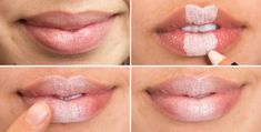 Create the illusion of plumper lips by filling in the middle section with a light concealer, blending it out with the warmth from your fingertip, and finishing with a nude lip gloss. Genius Concealer Hacks Every Woman Needs to Know - Woman's Day) Best Concealer, Concealer Palette, Best Beauty Tips, Beauty Secrets, Beauty Advice, Beauty Products, Look Kylie Jenner, Blusher Tips, Beauty Hacks