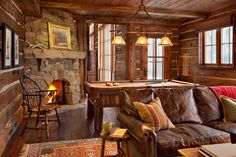 Are you lucky enough to have a living room with fireplace? A fireplace is an architectural structure designed to contain a fire. The idea of a corner fireplace living room is amazing. Billard Bar, Moonlight Basin, Rustic Games, Montana Homes, Montana Ranch, Rustic French Country, Rustic Fireplaces, Outdoor Fireplaces, Cabin Interiors