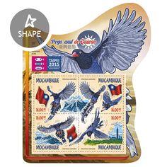 Post stamp Mozambique MOZ 15127 aAsian International Stamp Exhibition 2015 Taipei. Taiwan Blue Magpie (Urocissa caerulea)