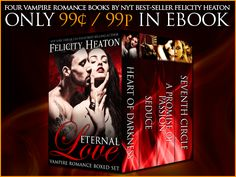 *** JUST 99c / 99p - VAMPIRE ROMANCE BOXED SET ***  Step into the dark, dangerous and seductive world of vampires in this amazing limited time only boxed set of vampire romances packed with passion, emotion and suspense... and love that will last forever. This boxed set is only available until end December 2014!  All the details, buy links, plus a fab release week giveaway at my website: http://www.felicityheaton.co.uk/eternal-love-vampire-romance-boxed-set.php