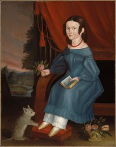 Unidentified artist, American, mid-19th century, Girl with a Gray Cat, about 1840.  Oil on canvas.  113.35 x 88.9 cm (44 5/8 x 35 in.).  Museum of Fine Arts, Boston, 47.1251.