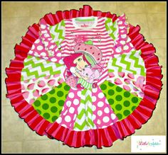 Strawberry Shortcake Twirl Upcycle Dress by Little 4 Awhile www.facebook.com/groups/little4awhile