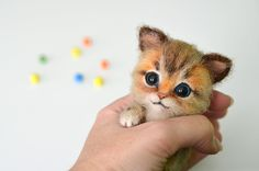 Needle felted little three-color kitten. Tiny cute cat. Miniature animal. Sweet gift. Small toy. - pinned by pin4etsy.com