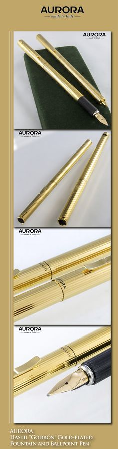 Aurora Hastil Gold-plated Godron Ballpoint and Fountain Pen Set (gold-plated bodies, 14kt solid gold nib) - 1980s / Italy