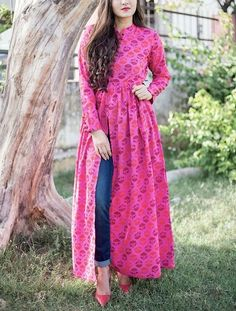 Buy The Secret Label Pink Cotton Printed Front Slit Anarkali Kurti online in India at best price.Your candy cravings are sure to be satisfied with this candy sorbet tunic in bright pink tone. Pakistani Dresses, Indian Dresses, Indian Outfits, Stylish Dresses, Simple Dresses, Casual Dresses, Frock Design, Indian Designer Outfits, Designer Dresses