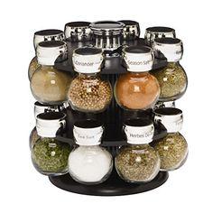 Kamenstein Ellington 16-Jar Revolving Spice Rack with Free Spice Refills for 5…