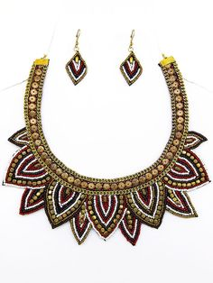 Red Mix and Gold Seed Beaded Bib Necklace Set #Unbranded