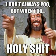 Funny Jesus Meme Picture - I don't always poo, but when I do ... holy shit