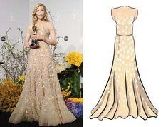 2014 Actriz: Cate Blanchett  Ganó por: Blue Jasmine (2013)  Vestido diseñado por: Armani Prive