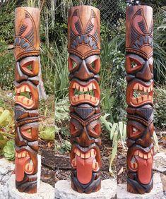 Tiki Statue Tiki Mask Tiki Decor African Mask Arts and Craft Tiki Totem Tongue 2 face Tribal Wood Wall Mask Patio Tropical Bar Decor Totem Tiki, Totem Pole Craft, Patio Tropical, Tiki Maske, Tiki Pole, Tiki Statues, Tiki Art, Tiki Tiki, Tiki Bar Decor