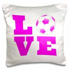 3dRose Love soccer pink white, Pillow Case, 16 by 16-inch
