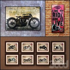 3d модели: Багеты - Картина в раме: 20 шт (сборник 73) Мотоцикл