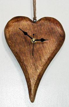 *NEW* Wooden Heart Hanging Wall Clock Shabby Chic Rustic Vintage Style | eBay