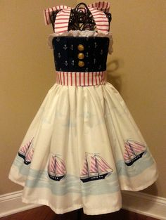 Girls Navy Blue Out To Sea Sailor Dress by OSoDarling on Etsy, $45.00