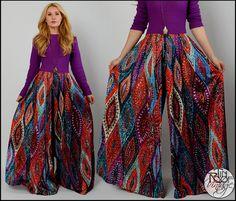 vintage-70s-BOHEMIAN-paisley-PALAZZO-JUMPSUIT-M-pants-wide-leg-dress-draped-boho