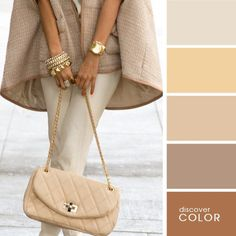 Shades of beige Colour Combinations Fashion, Fashion Colours, Colorful Fashion, Color Combinations, Warm Colour Palette, Colour Pallete, Warm Colors, Color Palettes, Pantone