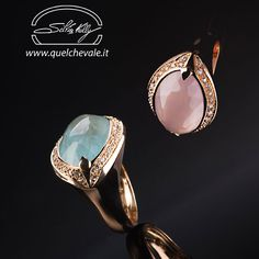 "Anello Quarzo Rosa e Acquamarina - oro 18kt e diamanti - Rings:Pink Quartz and Aquamarine - gold 18kt and diamonds - Precious Jewelry - Jewels - Silvia Kelly Gioielli ""The Made in Italy - Italy - www.quelchevale.it"