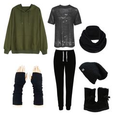 """Sakura winter"" by ana-vivier ❤ liked on Polyvore featuring Topshop, George, UGG and prAna"