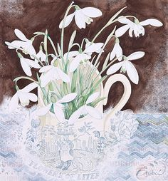 In addition to her printmaking, artist Angie Lewin also produces a limited number of original watercolours. Watercolor Images, Watercolor Drawing, Watercolor Flowers, Watercolor Paintings, Watercolours, Art And Illustration, Angie Lewin, Art And Craft Design, Art Forms