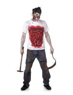 Déguisement zombie avec boyaux en latex homme Halloween : Ce déguisement de zombie pour homme se compose d'un t-shirt (pantalon, armes et chaussures non inclus). Le t-shirt est blanc avec les boyaux et des effets de sang apparents en latex sur le...