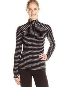 Spalding Women's Spacedye Stripe 1/2 Zip Pullover Top, Deep Black Combo/Deep Black, Medium