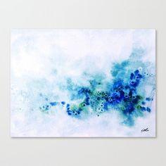 Blau und grün Aquarell-Druck Leinwand Kunst abstrakte