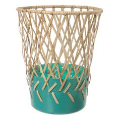 half-plastic, half-wicker waste paper bins by German designer Cordula Kehrer for American brand Areaware, made with the Aeta people of the Philippines