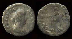 A silver denarius coin of Faustina the Younger, empress to Marcus Aurelius, AD 161-180. She was the daughter of Emperor Antoninus Pius, ruler of the Roman Empire, AD 138-161. The back of the coin depicts Concordia, the Roman goddess of understanding and marital harmony. This coin was minted in Rome, Italy, AD 157-164.