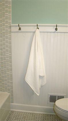 kids bathroom - love the tile and the hooks!