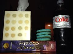 All of the essentials for reading The Blood of Olympus -repinned Blood Of Olympus, Blue Cookies, Diet Coke, I Promise, Percy Jackson, Essentials, Reading, Life, Reading Books
