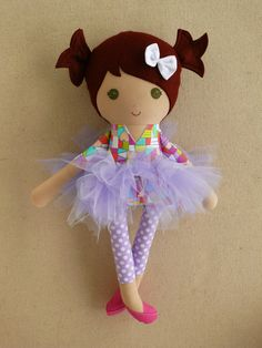 Fabric Doll Rag Doll Brown Haired Girl in Colorful Top and Purple Tutu Apple Dolls, Tiny Dolls, Soft Dolls, Sewing Projects For Kids, Sewing Crafts, Hot Pink Shoes, Fabric Toys, Sewing Dolls, Doll Accessories