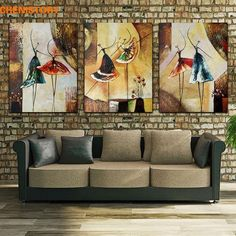 Unframed 3 Panel Handpainted Ballet Dancer Abstract Modern Wall Art Picture Home Decor Oil Painting On Canvas For Bedroom ~ Modern Home Decor ~ Olivia Decor - decor for your home and office. Wall Art Pictures, Oil Painting On Canvas, Painting, Modern Wall Art, Bird Wallpaper, Abstract, Mural Wallpaper, Canvas Painting, Large Canvas Painting