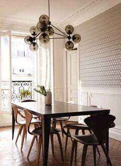 dining + lighting + chevron wood floors