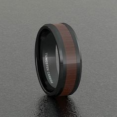 Black Tungsten Ring with Cherry Wood & Beveled Edges  - - #ring #men #jewelry #classic #wood #tungstenrings #mensring #mensstyle #mensjewelry #mensfashion  #menswear #mensweardaily #picoftheday #outfit #wedding #tungsten_band #collection #siliconerings #sport #fit #mensstyle #menwithstyle #styleblogger #luxurylife #styleinspiration #menstreetstyle #coollook #iamstyle #fashionist #topman Black Tungsten Rings, Silicone Rings, How To Look Better, Cherry, Rings For Men, Menswear, Style Inspiration, Mens Fashion, Sport