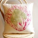 King Protea hand block printed cushion cover green and cerise