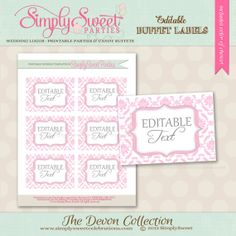 Free Printable Candy Buffet Labels | printable candy buffet labels pdf file includes customized colors and ...