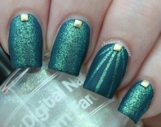 Digital Nails Unicorn Farts over Essie Go Overboard mattefied