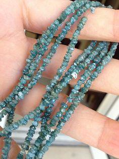 rough blue diamond full strand by vlvp on Etsy, $175.95