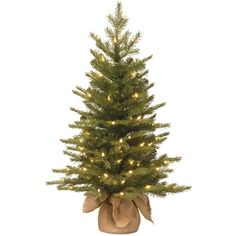 3-ft. Pre-Lit ''Feel-Real'' Nordic Spruce Artificial Christmas Tree in Burlap, Green