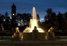 Iowa State University Campus, fountain at the MU