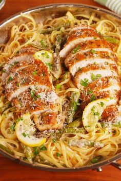 This lemon chicken pasta dish is great for when you have to  cook for a crowd @delish