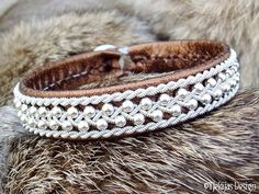Swedish Viking Sami Lapland Bracelet ROSKVA Bronze Lambskin Cuff with Sterling Silver Beads in Spun Pewter Braids and Antler button. Leather Jewelry, Wire Jewelry, Beaded Jewelry, Jewellery, Silver Chain Necklace, Silver Bracelets, Silver Beads, Silver Ring, Swedish Vikings